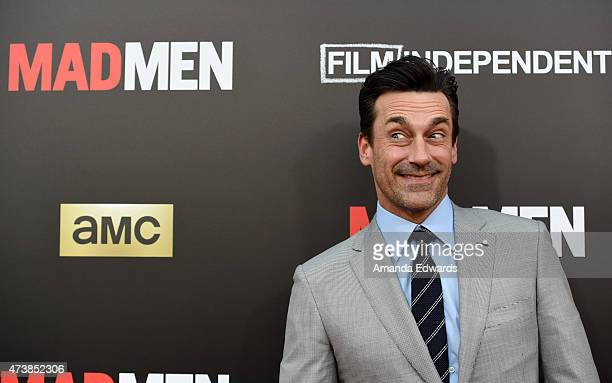Actor Jon Hamm arrives at the Film Independent at LACMA special screening of the final episode of Mad Men at The Ace Hotel Theater on May 17 2015 in...