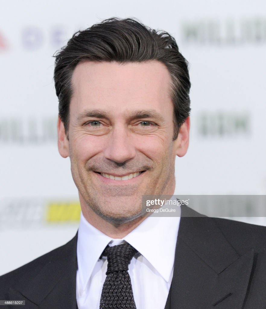 Actor Jon Hamm arrives at the Los Angeles premiere of 'Million Dollar Arm' at the El Capitan Theatre on May 6, 2014 in Hollywood, California.