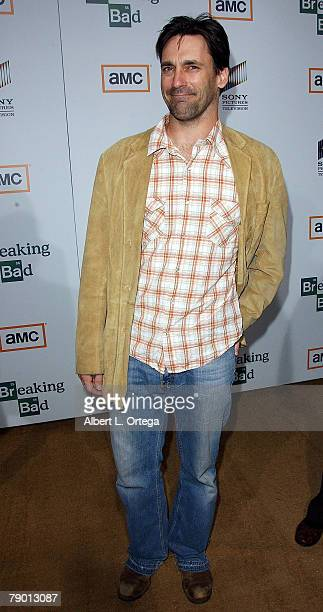 Actor Jon Hamm arrives at the Premiere Screening of AMC's new Sony Pictures' Television drama Breaking Bad held on January 15 2008 at The Cary Grant...