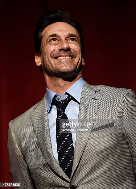 Actor Jon Hamm attends the Film Independent at LACMA special screening of the final episode of 'Mad Men' at The Ace Hotel Theater on May 17 2015 in...