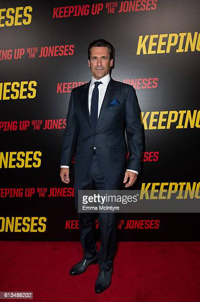 Actor Jon Hamm attends the premiere of 20th Century Fox's 'Keeping up with the Joneses' at Fox Studios on October 8 2016 in Los Angeles California