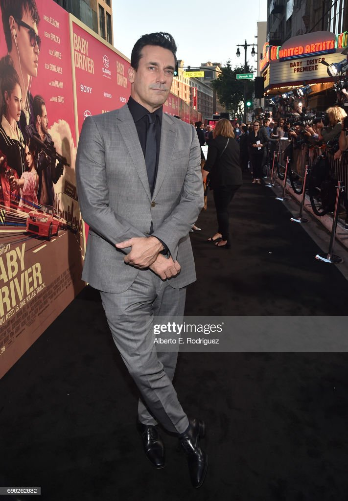 Actor Jon Hamm attends the premiere of Sony Pictures' 'Baby Driver' at Ace Hotel on June 14, 2017 in Los Angeles, California.
