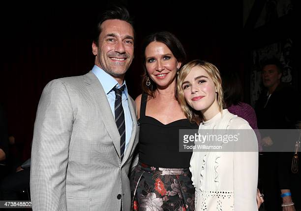Actor Jon Hamm costume designer Janie Bryant and actress Kiernan Shipka attend a 'Mad Men' Live Read and Series Finale Event at The Theater at The...