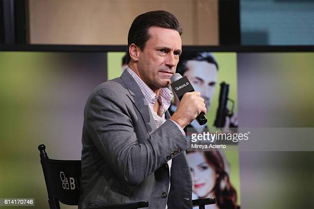 """Actor Jon Hamm discusses the new film """"Keeping Up with the Joneses"""" at AOL HQ on October 12, 2016 in New York City."""