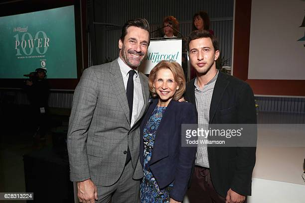 Actor Jon Hamm honoree Shari Redstone and Brandon Korff attend The Hollywood Reporter's Annual Women in Entertainment Breakfast in Los Angeles at...
