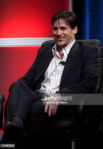 Actor Jon Hamm of Mad Men speaks during day two of the AMC Channel 2008 Summer Television Critics Association Press Tour held at the Beverly Hilton...
