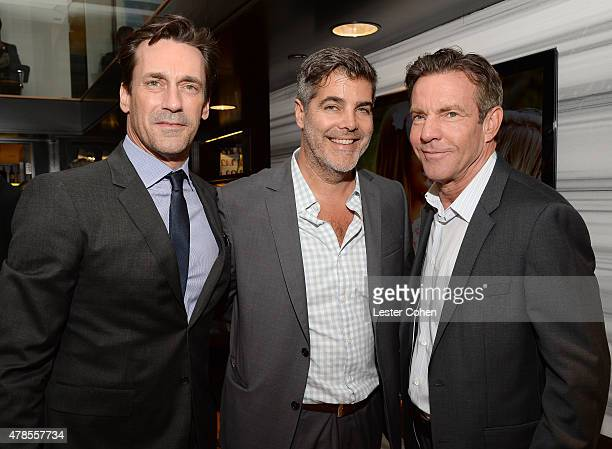 Actor Jon Hamm producer Gordon Gray and actor Dennis Quaid attend Charlotte Gwenyth Gray Foundation's Entertainment Industry Benefit at Atom Factory...