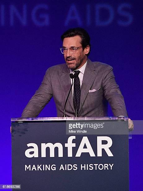 Actor Jon Hamm speaks attends amfAR's Inspiration Gala Los Angeles at Milk Studios on October 27 2016 in Hollywood California