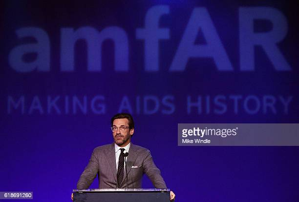 Actor Jon Hamm speaks onstage at amfAR's Inspiration Gala Los Angeles at Milk Studios on October 27 2016 in Hollywood California
