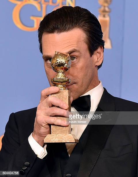 Actor Jon Hamm winner of Best Actor in a Television Series Drama for 'Mad Men' poses in the press room during the 73rd Annual Golden Globe Awards...