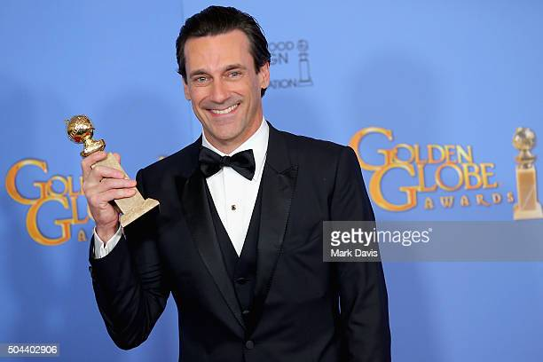Actor Jon Hamm winner of Best Performance by an Actor In A Television Series Drama poses in the press room during the 73rd Annual Golden Globe Awards...