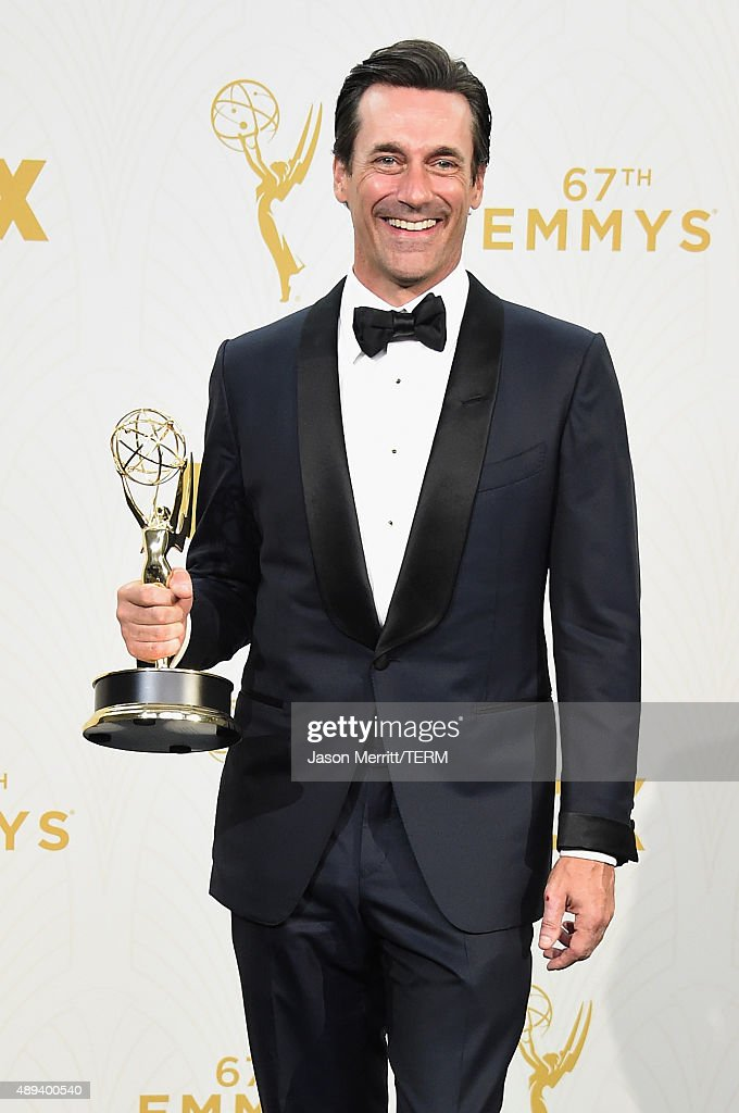 Actor Jon Hamm, winner of Outstanding Lead Actor in a Drama Series for 'Mad Men', poses in the press room at the 67th Annual Primetime Emmy Awards at Microsoft Theater on September 20, 2015 in Los Angeles, California.