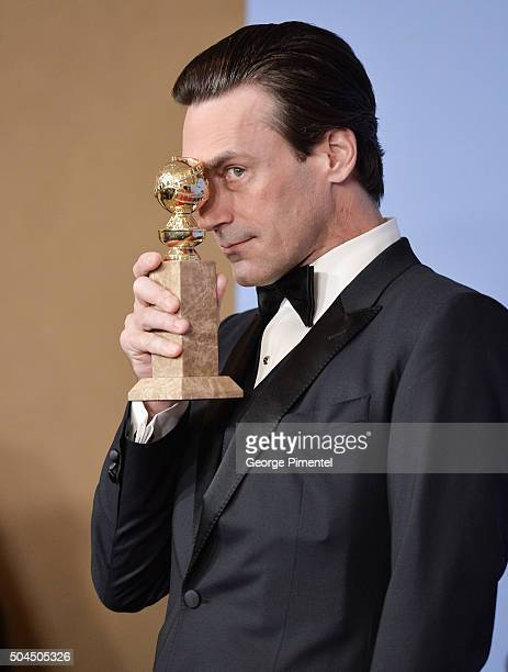 Actor Jon Hamm winner of the award for Best Performance by an Actor In A Television Series Drama for 'Mad Men' poses in the press room during the...