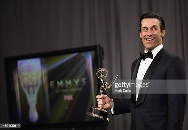 Actor Jon Hamm, winner of the award for Outstanding Lead Actor in a Drama Series for 'Mad Men', poses in the press room at the 67th Annual Primetime...