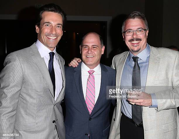 Actor Jon Hamm, writer/director Matthew Weiner and producer Vince Gilligan attend the 31st annual Television Critics Association Awards at The...