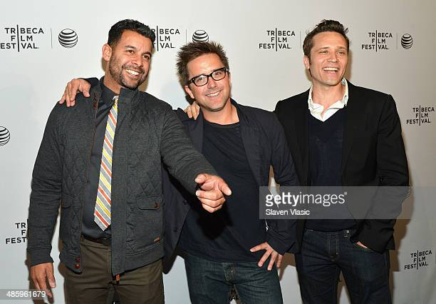 Actor Jon Huertas director Lucas Spaulding and actor Seamus Dever of 'Sequestered' attend the Shorts Program Soul Survivors during the 2014 Tribeca...
