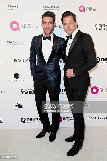 Actor Jon Kortajarena and Bulgari President Daniel Paltridge attends the 24th Annual Elton John AIDS Foundation's Oscar Viewing Party on February 28...