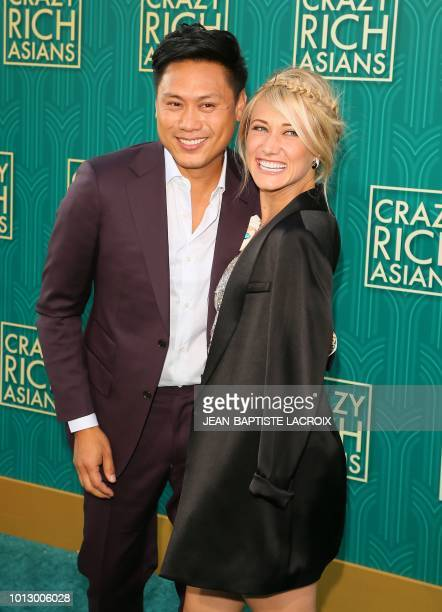 Actor Jon M Chu and guest attend the premiere of Warner Bros Pictures' 'Crazy Rich Asians' in Hollywood California on August 7 2018