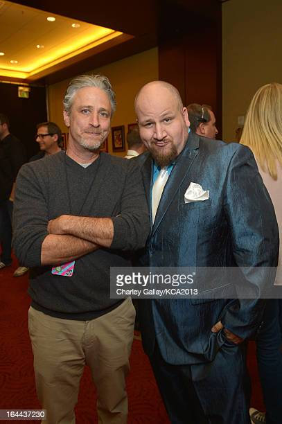 Actor Jon Stewart and actor Stephen GLickman seen backstage at Nickelodeon's 26th Annual Kids' Choice Awards at USC Galen Center on March 23 2013 in...