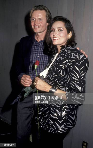 Actor Jon Voight and Barbara Carrera attend Welcome Home Vets Benefit on February 24 1986 at the Forum in Los Angeles California
