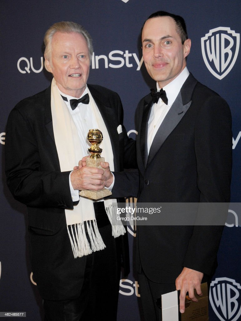 Actor Jon Voight and son James Haven arrive at the 2014 InStyle And Warner Bros. 71st Annual Golden Globe Awards post-party at The Beverly Hilton Hotel on January 12, 2014 in Beverly Hills, California.