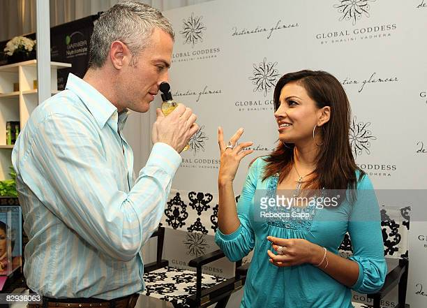 Actor Jon Wolfe Nelson poses with the Global Goddess Beauty by Shalini Vadhera display during the HBO Luxury Lounge in honor of the 60th annual...