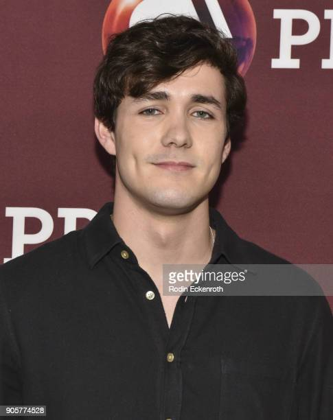 Actor Jonah HauerKing attends photo call for BBC's Little Women at Langham Hotel on January 16 2018 in Pasadena California