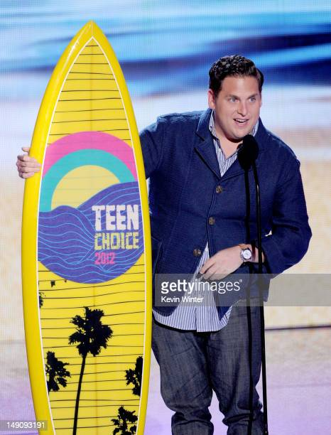 Actor Jonah Hill accepts the Choice Comedy Movie award onstage during the 2012 Teen Choice Awards at Gibson Amphitheatre on July 22 2012 in Universal...