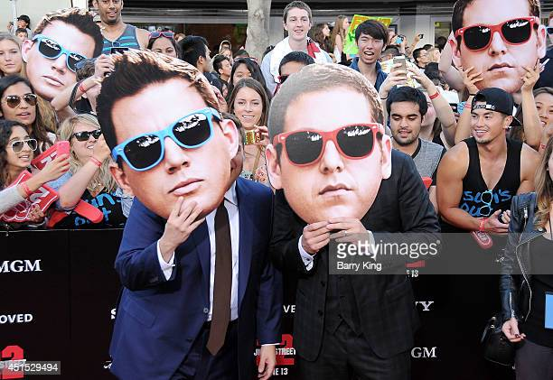 Actor Jonah Hill and actor Channing Tatum arrive at the Los Angeles Premiere '22 Jump Street' on June 10 2014 at Regency Village Theatre in Westwood...