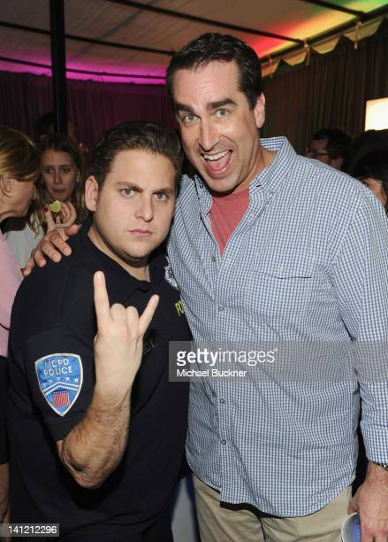 Actor Jonah Hill and actor Rob Riggle attends '21 Jump Street' After Party during the 2012 SXSW Music Film Interactive Festival at Paramount Theatre...