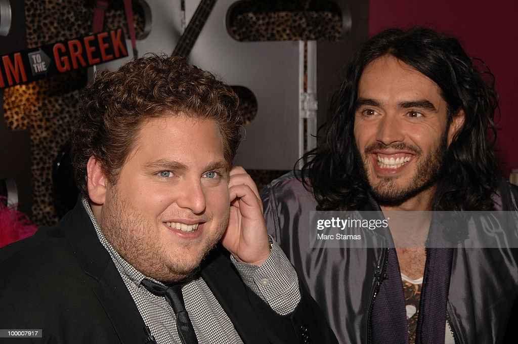 Actor Jonah Hill (L) and Actor Russell Brand (R) attend the 'Get Him to the Greek' press junket at the Diesel 5th Avenue store on May 19, 2010 in New York City.