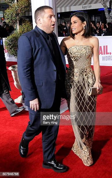 Actor Jonah Hill and actress Jenna DewanTatum attend the Premiere of Universal Pictures' 'Hail Caesar' at the Regency Village Theatre on February 1...