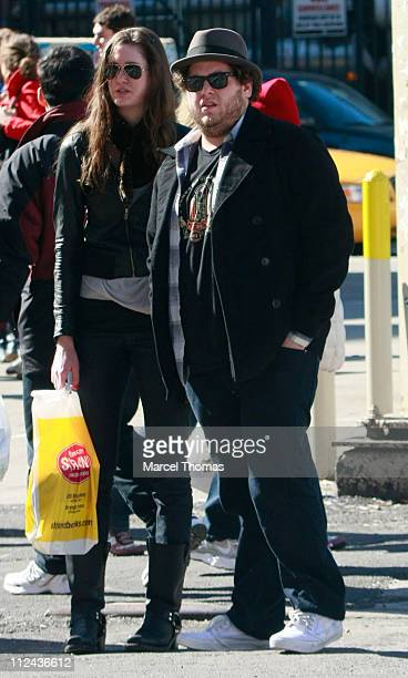 Actor Jonah Hill and Guest sighting walking in the east village on March 9 2008 in New York City New York