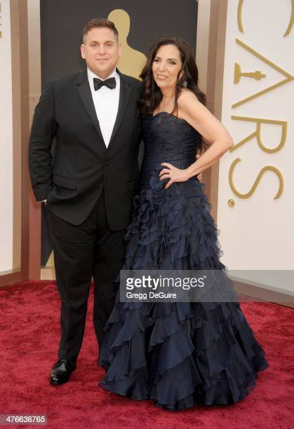 Actor Jonah Hill and mom Sharon arrive at the 86th Annual Academy Awards at Hollywood Highland Center on March 2 2014 in Hollywood California