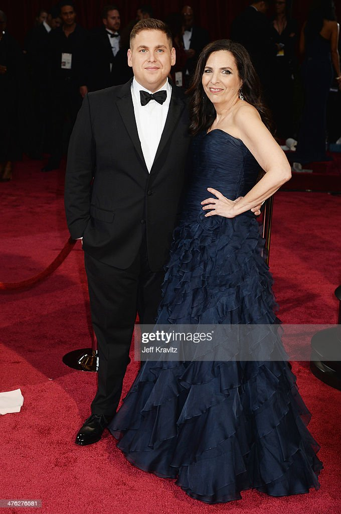 Actor Jonah Hill and mother Sharon Lyn Chalkin attend the Oscars held at Hollywood & Highland Center on March 2, 2014 in Hollywood, California.