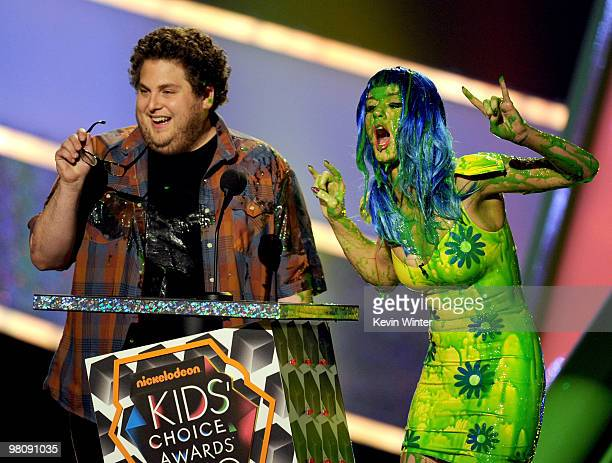 Actor Jonah Hill and singer Katy Perry speak onstage at Nickelodeon's 23rd Annual Kids' Choice Awards held at UCLA's Pauley Pavilion on March 27 2010...