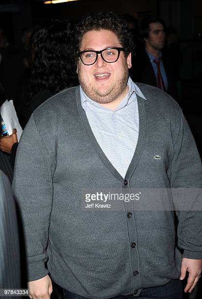 actor Jonah Hill arrive at the premiere of 'Greenberg' presented by Focus Features at ArcLight Hollywood on March 18 2010 in Hollywood California