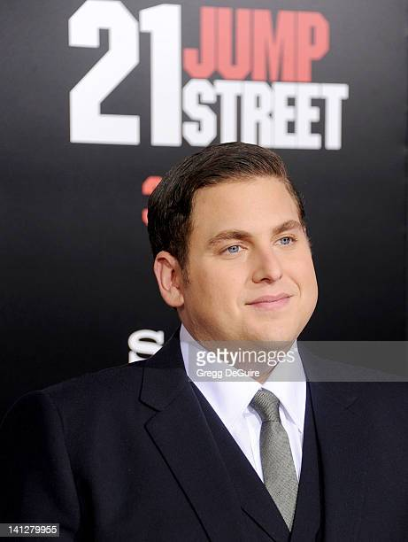 Actor Jonah Hill arrives at '21 Jump Street' Los Angeles Premiere at Grauman's Chinese Theatre on March 13 2012 in Hollywood California