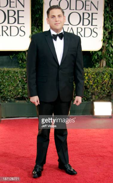 Actor Jonah Hill arrives at the 69th Annual Golden Globe Awards held at the Beverly Hilton Hotel on January 15 2012 in Beverly Hills California