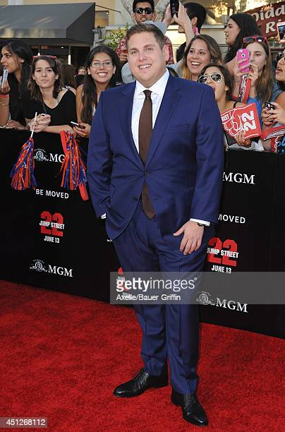 Actor Jonah Hill arrives at the Los Angeles Premiere '22 Jump Street' at Regency Village Theatre on June 10 2014 in Westwood California