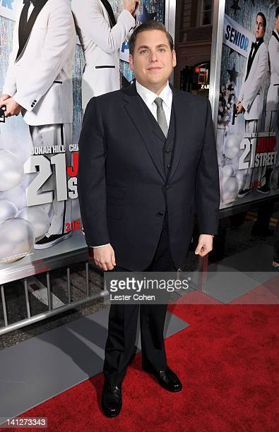 Actor Jonah Hill arrives at the Los Angeles premiere of '21 Jump Street' at Grauman's Chinese Theatre on March 13 2012 in Hollywood California