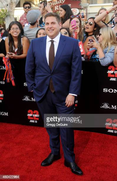 Actor Jonah Hill arrives at the Los Angeles premiere of 22 Jump Street at Regency Village Theatre on June 10 2014 in Westwood California
