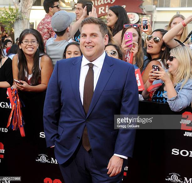 Actor Jonah Hill arrives at the Los Angeles premiere of '22 Jump Street' at Regency Village Theatre on June 10 2014 in Westwood California