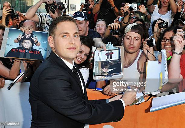 Actor Jonah Hill arrives at the 'Moneyball' Premiere at Roy Thomson Hall during the 2011 Toronto International Film Festival on September 9 2011 in...