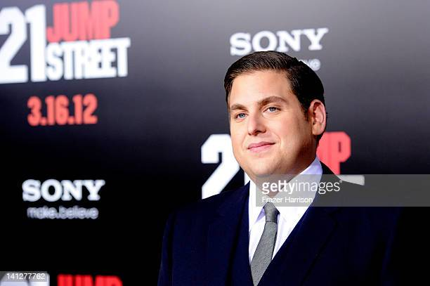 Actor Jonah Hill arrives at the Premiere Of Columbia Pictures' '21 Jump Street' at Grauman's Chinese Theatre on March 13 2012 in Hollywood California