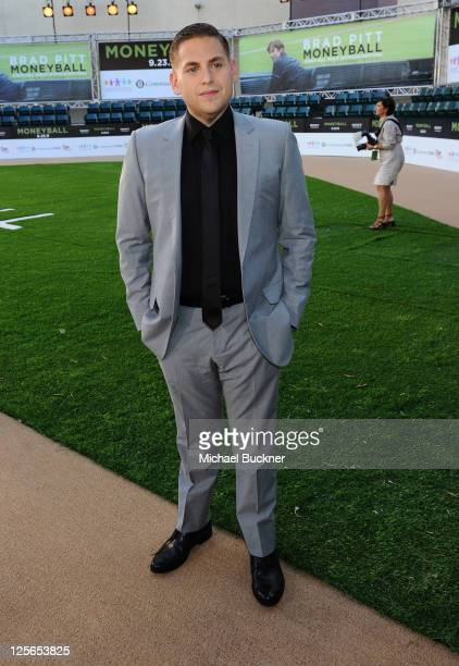 Actor Jonah Hill arrives at the premiere of Columbia Pictures' Moneyball at the Paramount Theatre of the Arts on September 19 2011 in Oakland...
