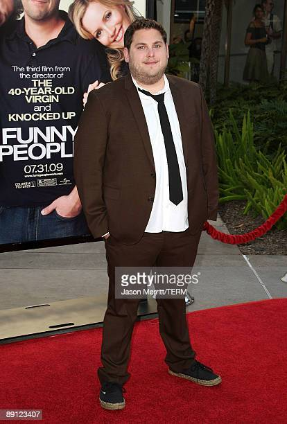 Actor Jonah Hill arrives at the premiere Of Universal Pictures' 'Funny People' held at ArcLight Cinemas Cinerama Dome on July 20 2009 in Hollywood...