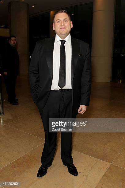 Actor Jonah Hill attends the 16th Costume Designers Guild Awards with presenting sponsor Lacoste at The Beverly Hilton Hotel on February 22 2014 in...