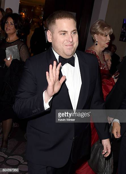 Actor Jonah Hill attends the cocktail reception during the 73rd Annual Golden Globe Awards at The Beverly Hilton Hotel on January 10 2016 in Beverly...