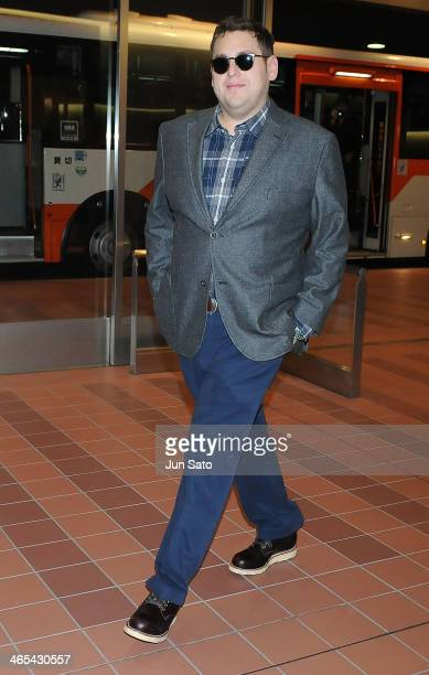 Actor Jonah Hill is seen arriving at Haneda Airport on January 27 2014 in Tokyo Japan